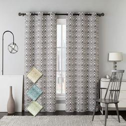 Stylish Justin Printed Blackout Window Grommet Top Curtain P
