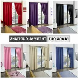 Tape Top / Pencil Pleat Thermal BLACKOUT Plain Curtains to B