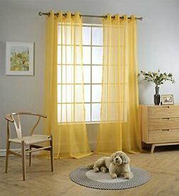 Textured Solid Sheer Curtains Grommet Drapes for Living Room