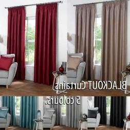 Thermal BLACKOUT Plain Curtains to Block Sunlight in 6 sizes