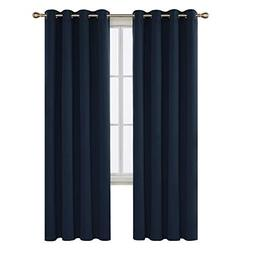 Deconovo Navy Blue Blackout Curtains 95 Inch Length Grommet