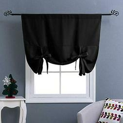 Thermal Insulated Blackout Curtain in Black - Tie Up Shade f