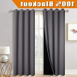 RYB HOME Thermal Insulated Blackout Curtains Full Light Bloc