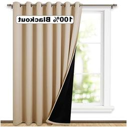 NICETOWN Thermal Insulated 100% Blackout Curtains, Noise Red