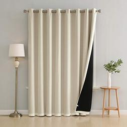 Deconovo Thermal Insulated Faux Linen Drapes with 100% Black