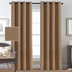 Room Darkening Faux Rich Linen Curtains 84 Inches Long Black