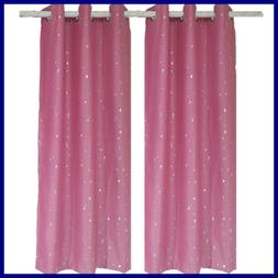 Thermal Insulated Starry Sky Semi Blackout PINK Curtains Foi