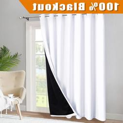 RYB HOME Total Blackout Curtain 84 inch Long, Sliding Glass