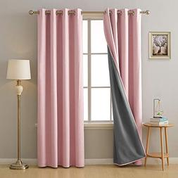 Deconovo Pink Blackout Curtains Linen Look 3 Pass Coating Gr