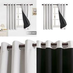 Total Blackout Curtains Grommet Faux Silk Satin Thermal Insu