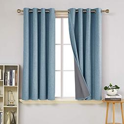 Deconovo Total Blackout Curtains Pair 63 inch Length Energy