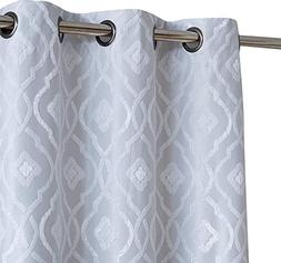 HLC.ME Trellis Flocked 100% Blackout Thermal Window Curtain