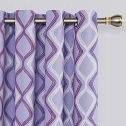 Deconovo Trellis Printed Blackout Curtains Purple Curtains L