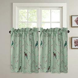 Ultra Soft Textured Kitchen Windows Curtains Birds Pattern R