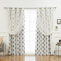 Best Home Fashion uMIXm Tulle & Arrow Curtains – Stainless