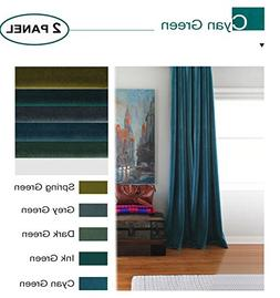 Artdix Velvet Blackout Curtains Panels Window Drapes - Cyan