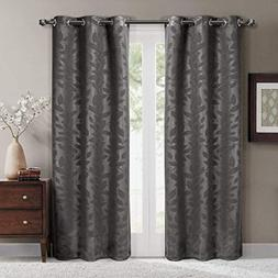 Virginia Gray Grommet Blackout Weave Embossed Window Curtain