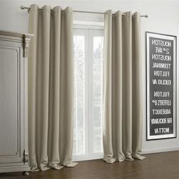IYUEGO Warm Ivory Curtain Solid Grommet Top Blackout Curtain