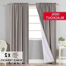Flamingo P Waterproof 100% Blackout Curtains for Bedroom, Th