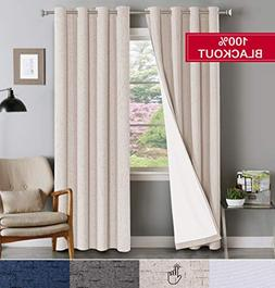 Flamingo P Waterproof 100% Blackout Natural Drapes for Bedro