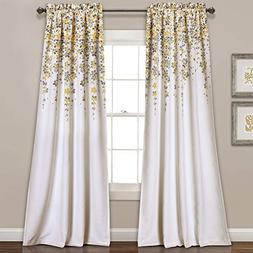 Lush Decor Weeping Flowers Yellow and Gray Room Darkening Wi