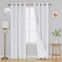 Deconovo Pure White 100 Blackout Curtains Pair Thermal Insul