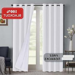 Turquoize White 100% Blackout Lined Curtains 108 inches Long
