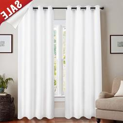 jinchan White Blackout Curtain Liner for Living Room 100% Bl