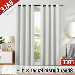 White Blackout Curtains Bedroom 95 inches Long Triple Weave