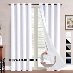 H.VERSAILTEX White Blackout  Curtains Elegant Extra Long Lin