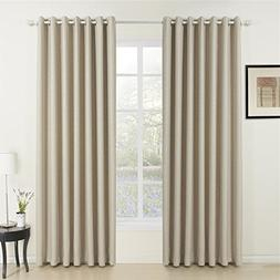 IYUEGO Classic Beige Curtain Solid Room Darkening Grommet To