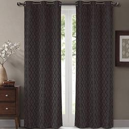 Willow Jacquard Charcoal Grommet Blackout Window Curtain Dra