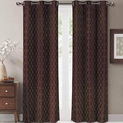 Willow Jacquard Chocolate Grommet Blackout Window Curtain Pa