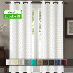 """2 Panels 42x84"""" Willow Jacquard Thermal Insulated Blackout D"""