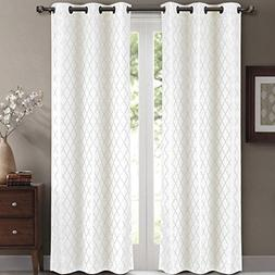 Willow Jacquard White Grommet Blackout Window Curtain Drapes