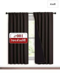 "Window Curtains Blackout Drapes 52"" X 72"" Soundproof Black"