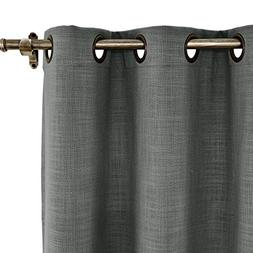 ChadMade 84W x 102L Inch Carbon Grey Linen Polyester Curtain