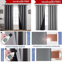 Yakamok 100% Blackout Curtains Thermal Insulated Soundproof