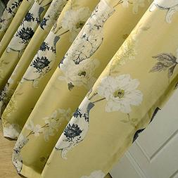 Anady Top Yellow Curtains Blackout Lined Drapes Bright White